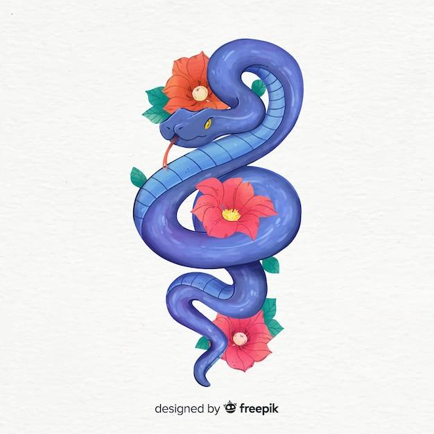 Mão, desenhado, cobra, e, flores, ilustração Vetor grátis