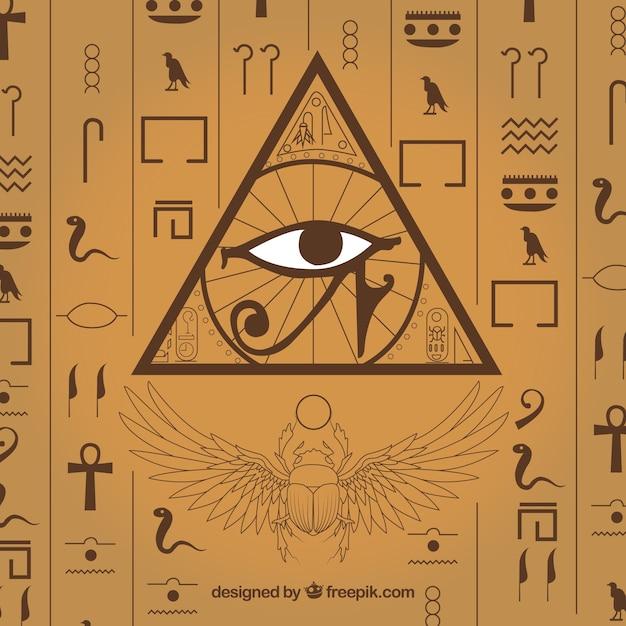 Mão, desenhado, egípcio, hieroglyphics, fundo Vetor Premium