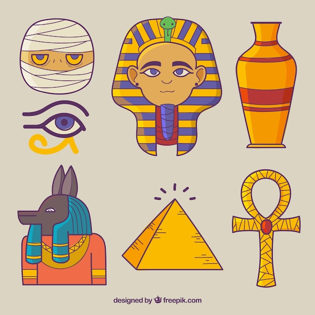 Mão, desenhado, egito, símbolos, e, deuses, cobrança Vetor grátis