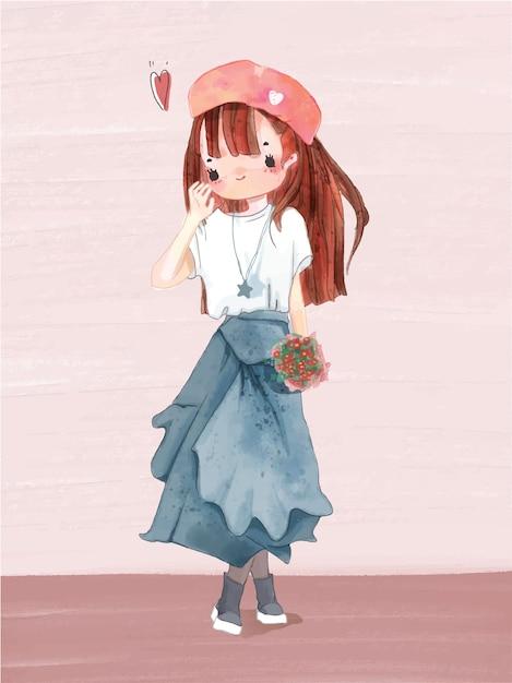 Mão desenhado em aquarela retrato no estilo de vida da garota adorável. Vetor Premium