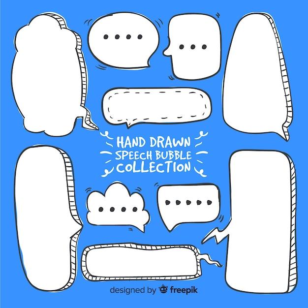 Mão, desenhado, em branco, fala, bolhas, com, diferente, formas Vetor grátis