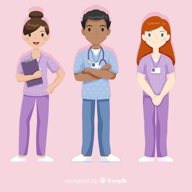 Mão, desenhado, enfermeira, equipe, cobrança Vetor grátis