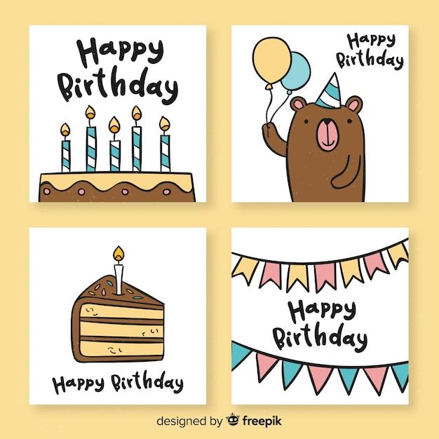 Mão, desenhado, engraçado, cartão aniversário, cobrança Vetor grátis