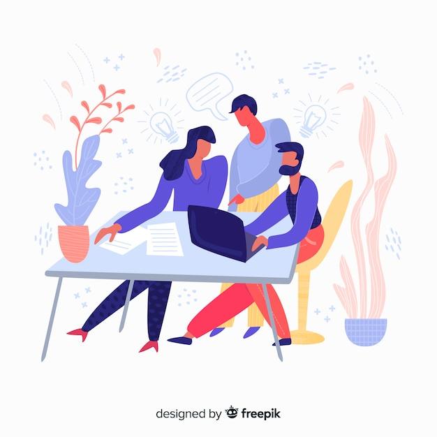 Mão, desenhado, equipe, trabalho, reunião, fundo Vetor grátis