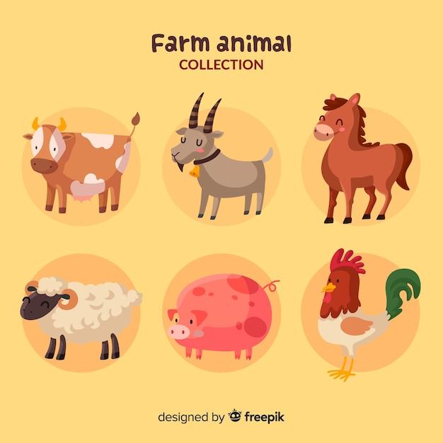 Mão, desenhado, fazenda, animal, cobrança Vetor grátis