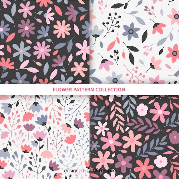 Mão, desenhado, flor, padrão, cobrança Vetor grátis