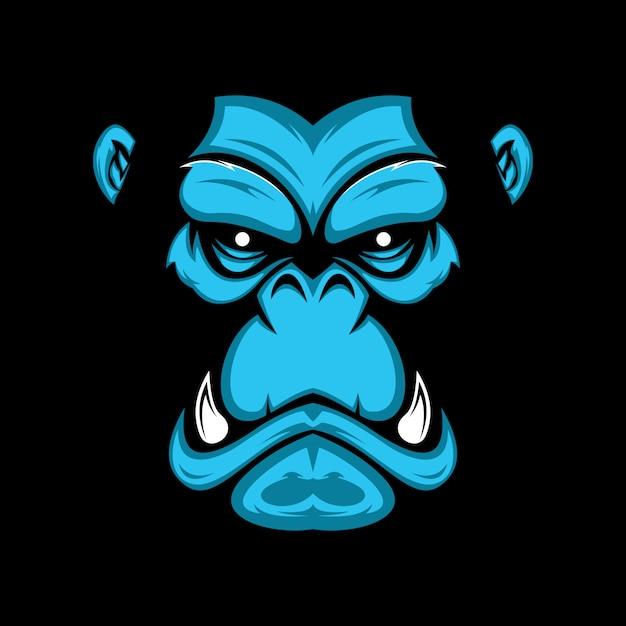 Mão, desenhado, ilustração, de, gorila, rosto Vetor Premium