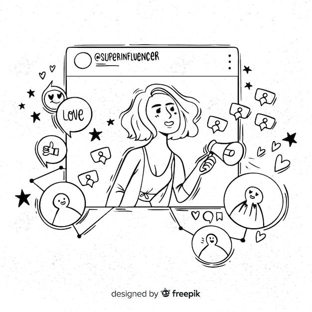Mão, desenhado, influencer, menina, ilustração Vetor grátis