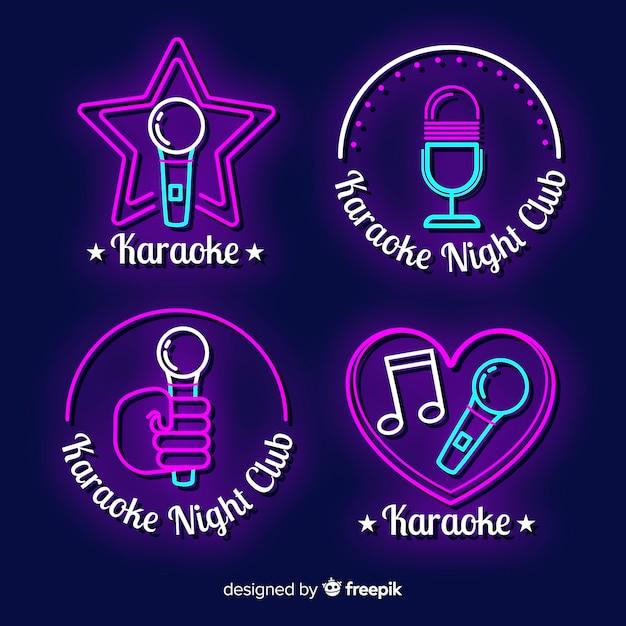 Mão, desenhado, karaoke, luz néon, cobrança Vetor grátis