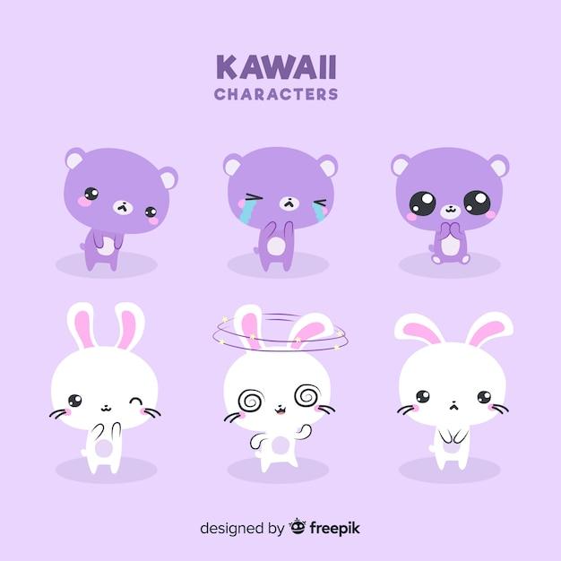 Mão, desenhado, kawaii, animal, cobrança Vetor grátis