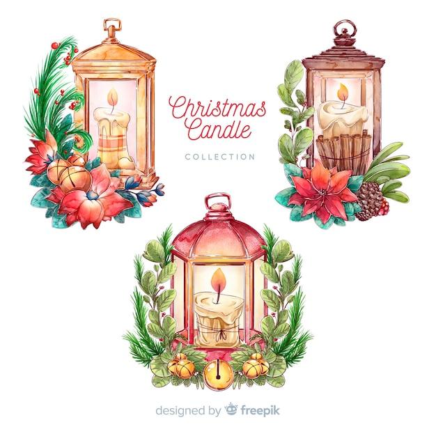 Mão, desenhado, lanterna natal, cobrança Vetor grátis