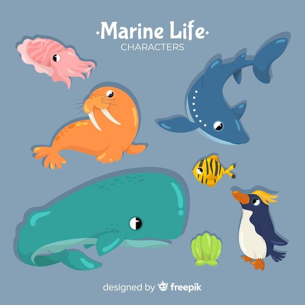 Mão, desenhado, mar, animais, cobrança Vetor grátis