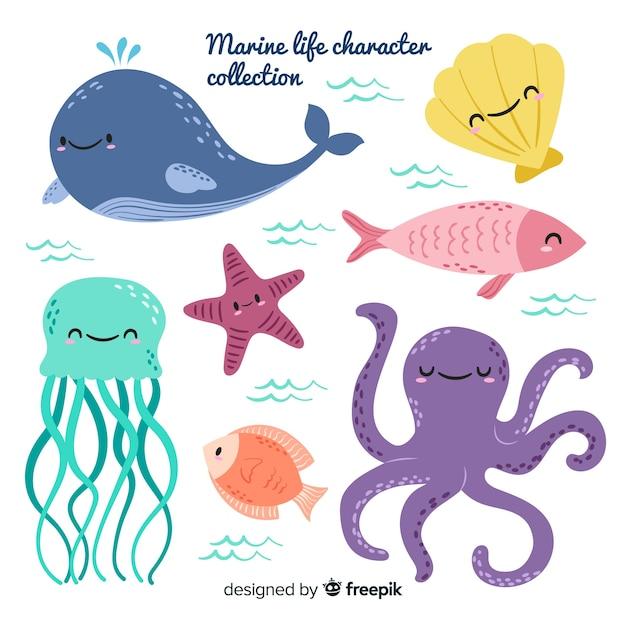Mão, desenhado, mar, animais, cobrança Vetor Premium