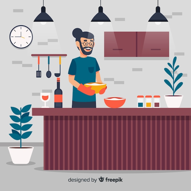 Mão, desenhado, menino, cozinhar, fundo Vetor grátis