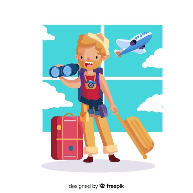 Mão, desenhado, menino, viajando, fundo Vetor grátis