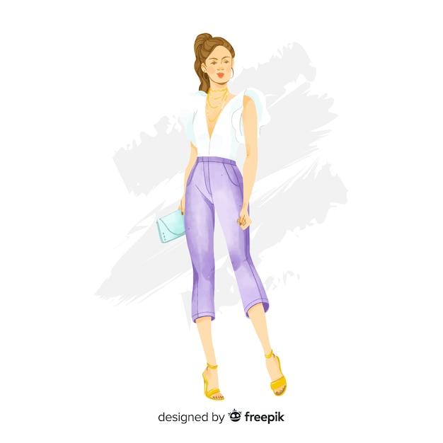 Mão, desenhado, moda, mulher, ilustração Vetor grátis