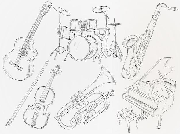Mão, desenhado, musical, instrumento Vetor grátis