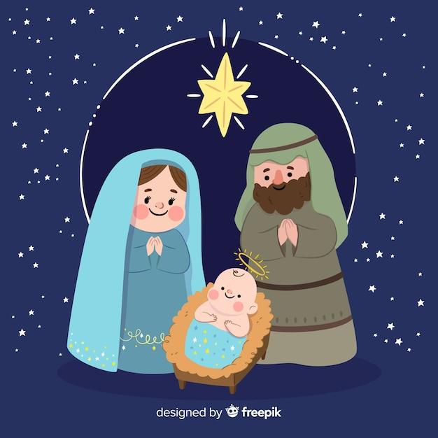 Mão, desenhado, natal, natividade, cena Vetor grátis