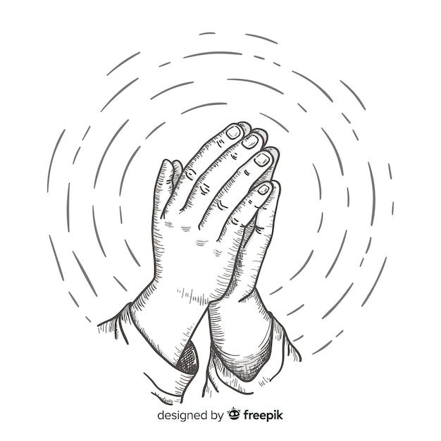 Mão, desenhado, orando, mãos, fundo Vetor grátis