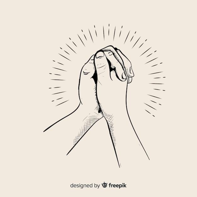 Mão, desenhado, orando, mãos, ilustração Vetor Premium
