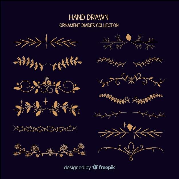 Mão, desenhado, ornamento, divisor, cobrança Vetor grátis