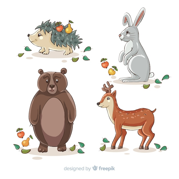 Mão, desenhado, outono, animais, cobrança Vetor grátis