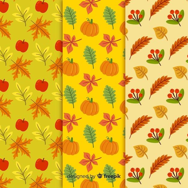Mão, desenhado, outono, padrão, cobrança Vetor grátis