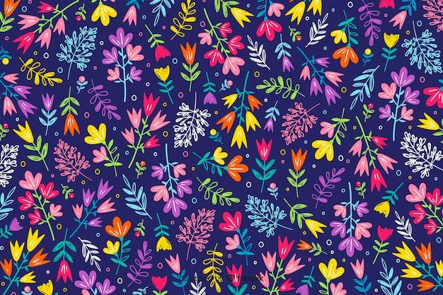Mão, desenhado, padrão floral, fundo Vetor grátis