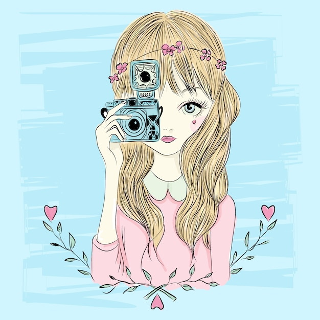 Mão, desenhado, pequeno, menina, ilustração Vetor Premium