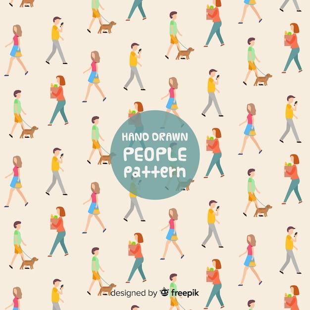 Mão, desenhado, pessoas, andar, padrão Vetor grátis