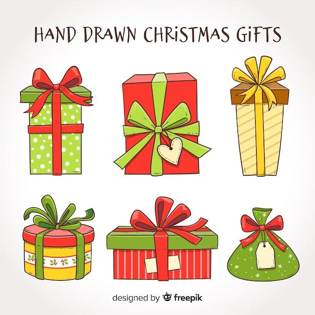 Mão, desenhado, presentes natal, cobrança Vetor grátis