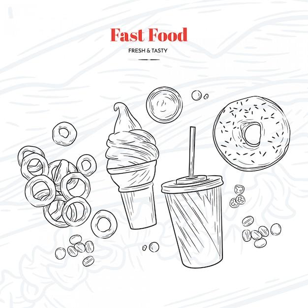 Mão, desenhado, rapidamente, alimento, elementos Vetor grátis