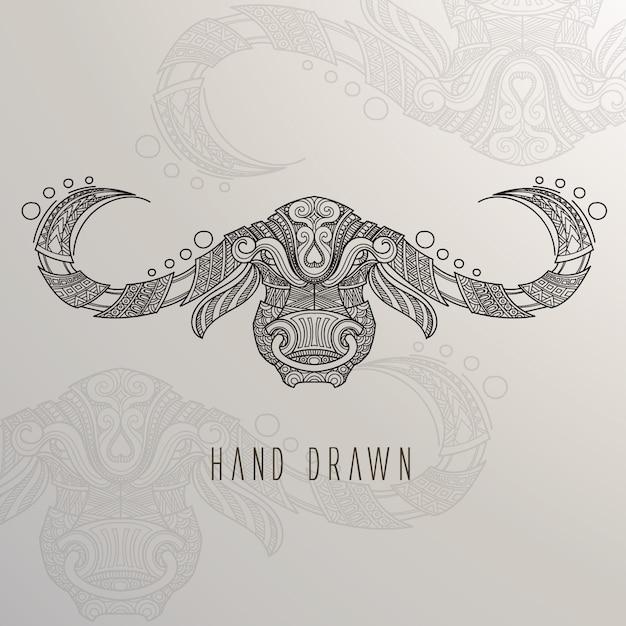 Mão, desenhado, touro, cabeça Vetor grátis