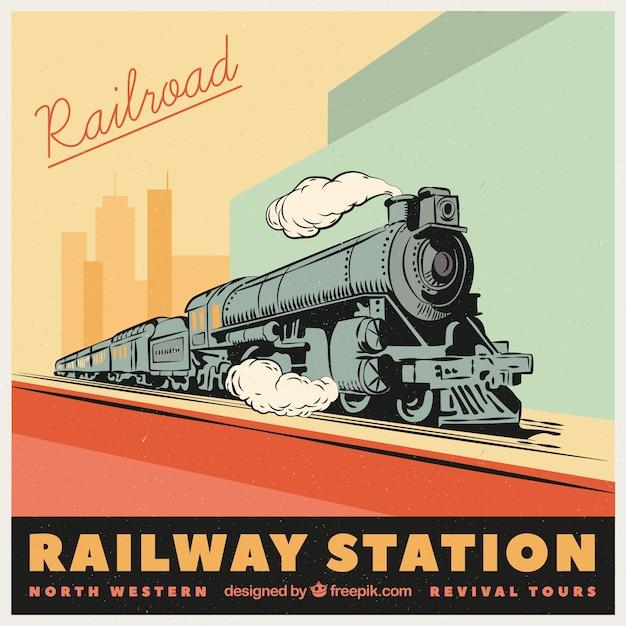 Mão, desenhado, trem, retro, fundo Vetor grátis