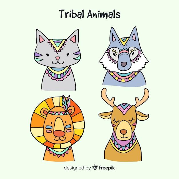 Mão, desenhado, tribal, animais, cobrança Vetor grátis