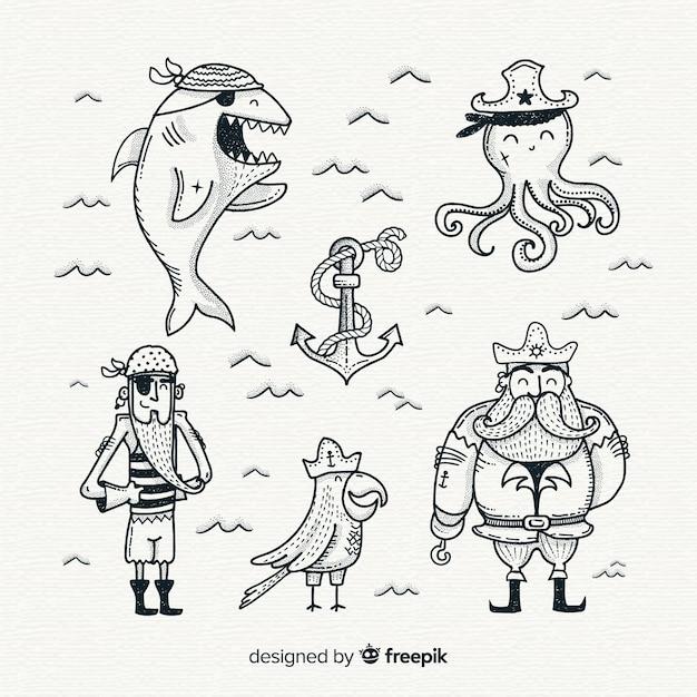 Mão, desenhado, vida marinha, personagem, cobrança Vetor grátis