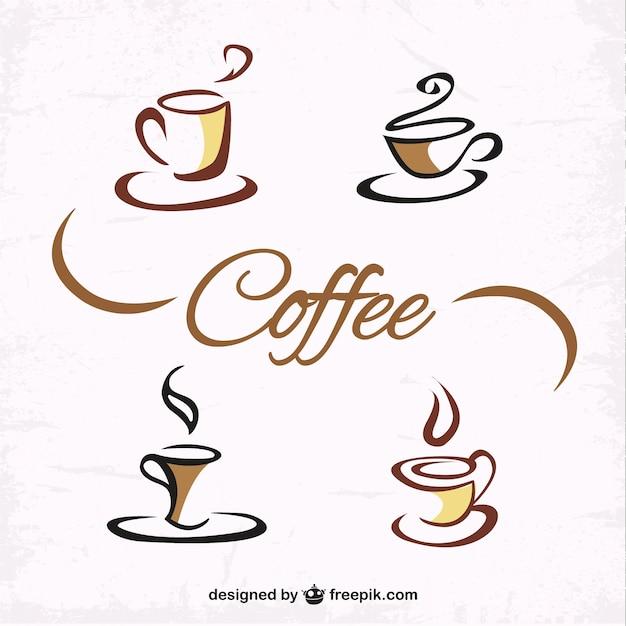 Mão, desenhado, xícaras de café Vetor Premium