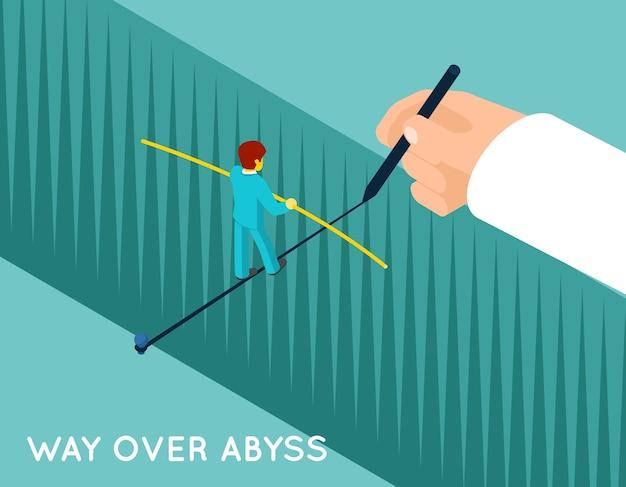 Mão desenhando caminho sobre o abismo para o empresário. carreira de sucesso, conquista, perigo e profissional Vetor grátis