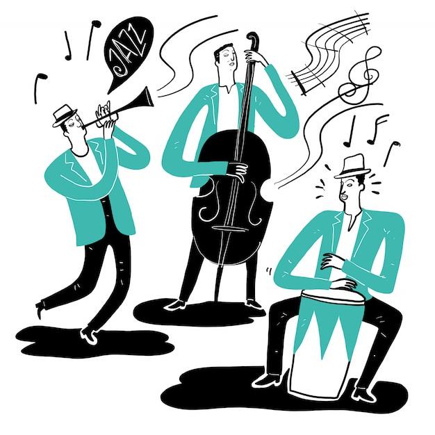 Mão desenhando os músicos tocando música Vetor Premium
