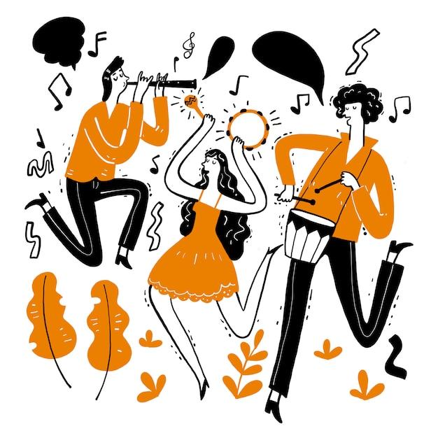 Mão desenhando os músicos tocando música. Vetor Premium