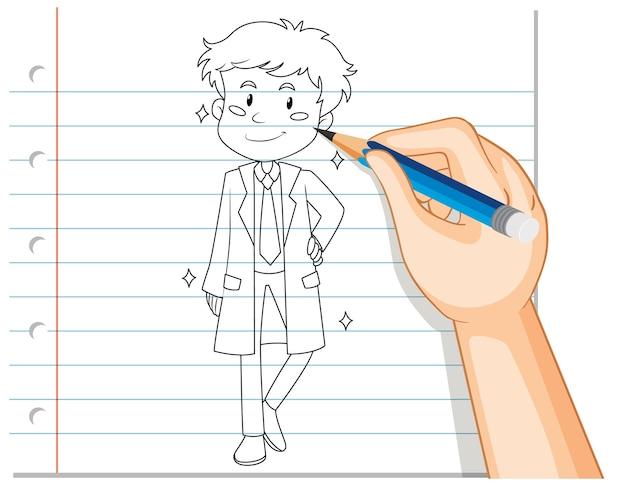 Mão desenhando um homem bonito Vetor grátis