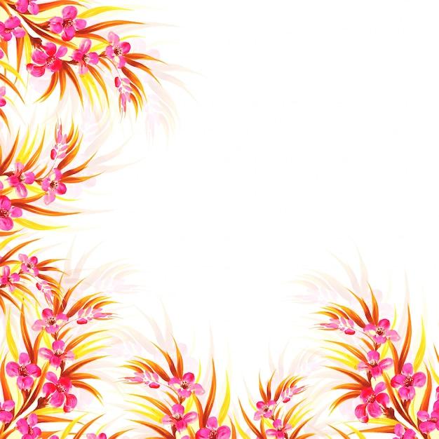 Mão desenhar cartão floral decorativo colorido de casamento Vetor grátis