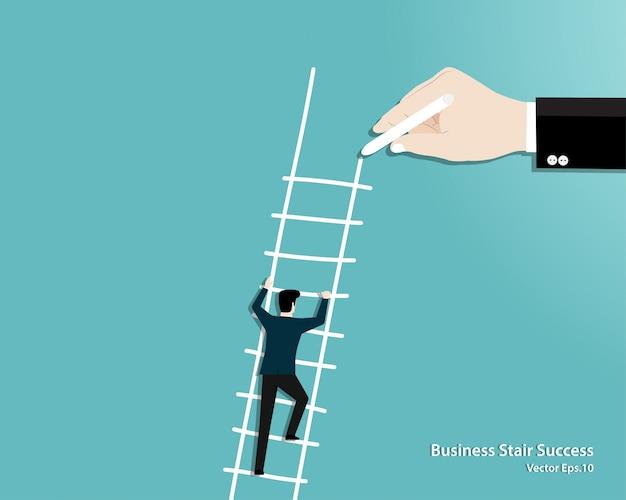 Mão desenhar escada para um empresário Vetor Premium