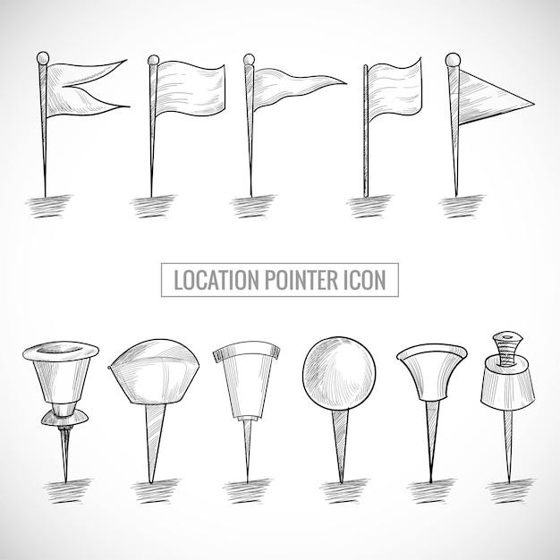 Mão desenhar ícone do ponteiro de localização definir desenho Vetor grátis