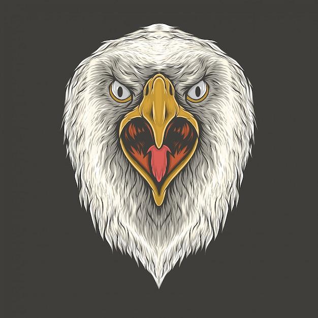 Mão, desenho, águia, vindima, cabeça, ilustração Vetor Premium