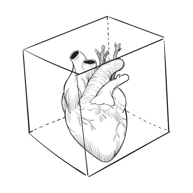 Mão, desenho, ilustração, de, cativado, coração Vetor grátis