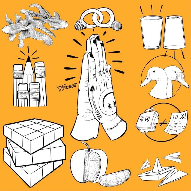 Mão, desenho, ilustração, de, individualidade Vetor grátis