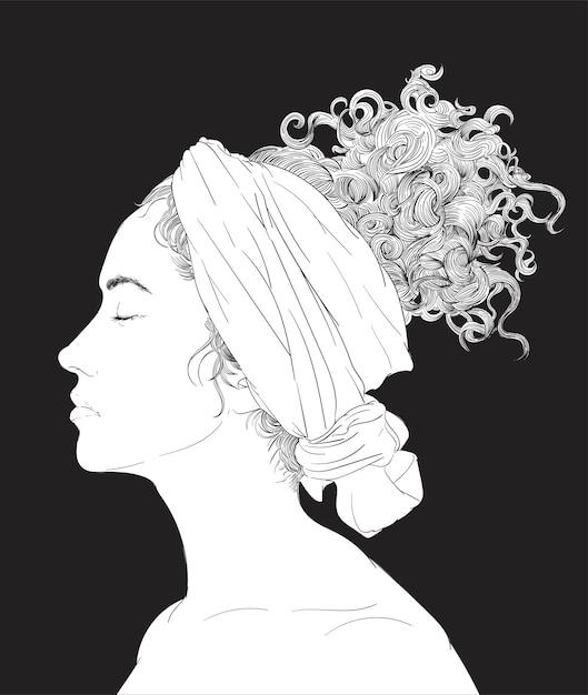 Mão, desenho, ilustração, de, rosto humano Vetor grátis