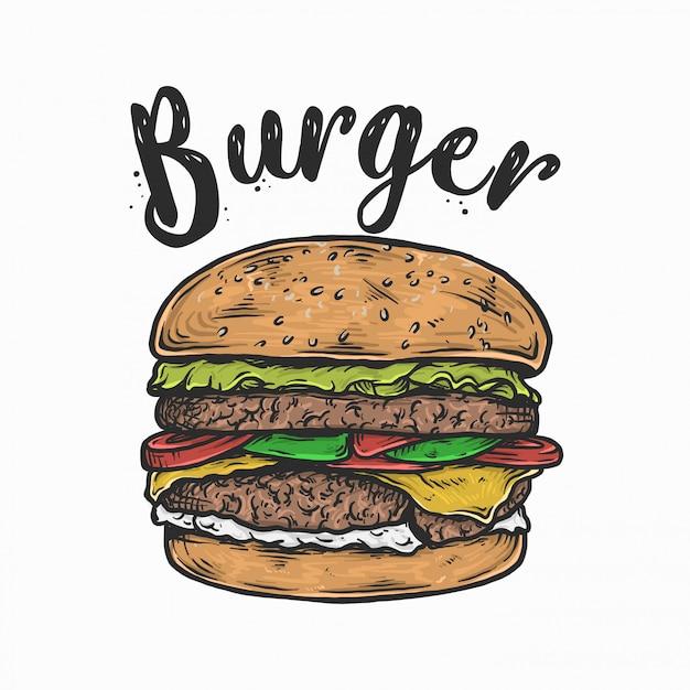 Mão desenho ilustração em vetor logotipo hambúrguer vintage Vetor Premium