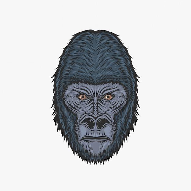 Mão desenho ilustração em vetor vintage gorila cabeça Vetor Premium